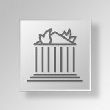 3D Burning Bank icon Business Concept. 3D Symbol Gray Square Burning Bank icon Business Concept Stock Photography
