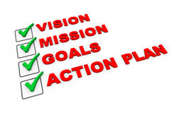 3d business action plan checklist. 3d illustration of check mark selected option of vision, mission goals and action plan Royalty Free Stock Photos