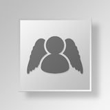 3D business angel icon Business Concept. 3D Symbol Gray Square business angel icon Business Concept Royalty Free Stock Image