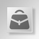 3D business bag icon Business Concept. 3D Symbol Gray Square business bag icon Business Concept Royalty Free Stock Photos