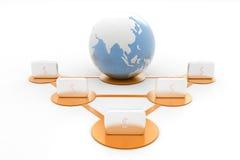 3d Business bags around globe Stock Photos