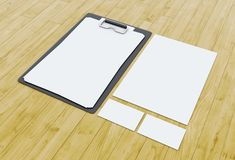 3d Business cards and blank notepads on wooden table. 3d illustration. Business cards and blank notepads on wooden table. Mock-up for branding identity Stock Photo