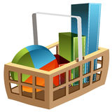 3D Business Chart Basket. An image of a 3d business chart basket Royalty Free Stock Images