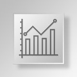 3D business chart icon Business Concept. 3D Symbol Gray Square business chart icon Business Concept Royalty Free Stock Photos