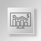 3D business chart icon Business Concept. 3D Symbol Gray Square business chart icon Business Concept Stock Photo