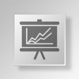 3D business chart icon Business Concept. 3D Symbol Gray Square business chart icon Business Concept Royalty Free Stock Photo