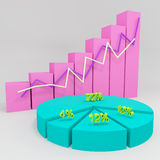 3d business chart. Showing growth Stock Images