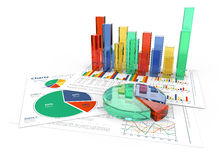 3D business charts in color Stock Photos