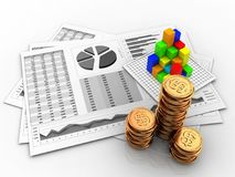 3d business charts. 3d illustration of business charts and graph over white background Royalty Free Stock Photography
