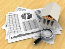 3d business charts. 3d illustration of business charts and bank over wood table background Stock Photography