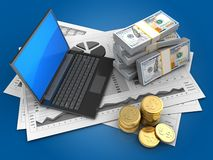 3d business charts. 3d illustration of business charts and black laptop over blue background with money Stock Photos