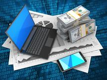 3d business charts. 3d illustration of business charts and black laptop over digital background with money Royalty Free Stock Photography