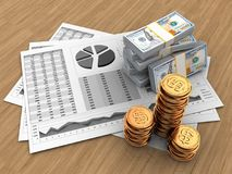 3d business charts. 3d illustration of business charts and money over wood background Stock Photo