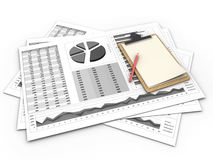 3d business charts. 3d illustration of business charts and note over white background Stock Photo