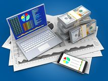 3d business charts. 3d illustration of business charts and pc over blue background with money Stock Photography