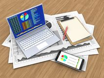 3d business charts Stock Photography