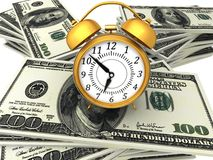 3D Business concept `time is money`. With dollar banknotes Stock Photography