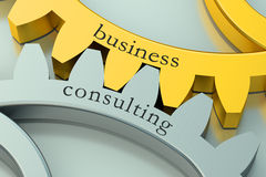 3D Business Consulting concept on the gearwheels Royalty Free Stock Images