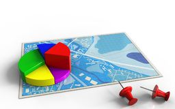3d business data. 3d illustration of blue map with business data and Stock Images