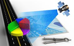 3d business data. 3d illustration of blue map with business data and circle tool Stock Photo