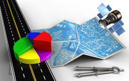 3d business data. 3d illustration of city map with business data and circle tool Royalty Free Stock Images