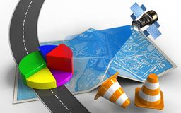 3d business data. 3d illustration of city map with business data and repair cones Royalty Free Stock Photos