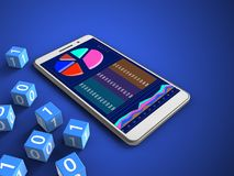 3d business data. 3d illustration of white phone over blue background with binary cubes and Royalty Free Stock Photo