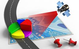 3d business data. 3d illustration of blue map with business data and red pins Royalty Free Stock Photos