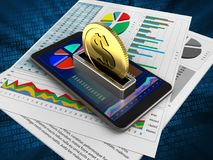 3d business data. 3d illustration of mobile phone over digital background with business papers and coin Stock Photos