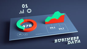 3D business data visualization background. 3D business statistics and data visualization background Stock Photo
