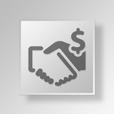 3D business deal icon Business Concept. 3D Symbol Gray Square business deal icon Business Concept Stock Photo