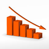 3D business decline graph. Vector Stock Photo