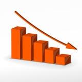 3D business decline graph. Vector Stock Photo