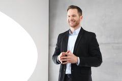 3d business dimensional presentation render shape three Experten ger ett anförande Royaltyfria Bilder