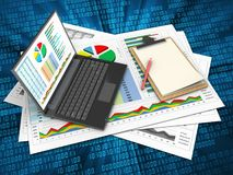 3d business documents. 3d illustration of business documents and personal computer over digital background with note Royalty Free Stock Photo