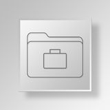 3D business folder icon Business Concept. 3D Symbol Gray Square business folder icon Business Concept Royalty Free Stock Photo
