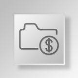 3D business folder icon Business Concept. 3D Symbol Gray Square business folder icon Business Concept Royalty Free Stock Photos
