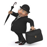 3d business gentleman. The businessman with a portfolio and an umbrella goes to work Stock Image
