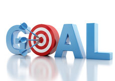 3d Business goal text and red target. Royalty Free Stock Photo