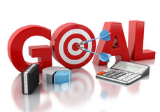 3d Business goal text and red target. Royalty Free Stock Images