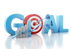 3d Business goal text and red target. Stock Photography