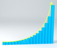 3D Business graph with arrow up. 3D Bar Graph growing exponential Royalty Free Stock Photo