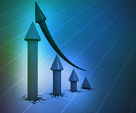 3d business graph. On blue background Stock Images