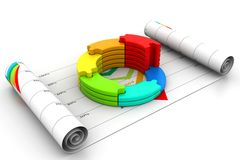 3d business graph in chart. 3d illustration of  business graph in chart Royalty Free Stock Photography