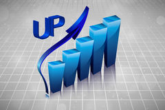 3d business graph in the drawings Royalty Free Stock Photos
