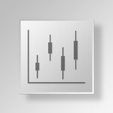 3D business graph icon Business Concept. 3D Symbol Gray Square business graph icon Business Concept Royalty Free Stock Image