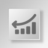 3D business graph icon Business Concept. 3D Symbol Gray Square business graph icon Business Concept Stock Images