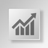 3D business graph icon Business Concept. 3D Symbol Gray Square business graph icon Business Concept Stock Photos