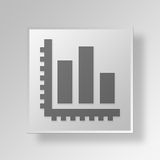 3D business graph icon Business Concept. 3D Symbol Gray Square business graph icon Business Concept Stock Image