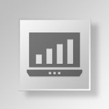 3D business graph icon Business Concept. 3D Symbol Gray Square business graph icon Business Concept Royalty Free Stock Photography